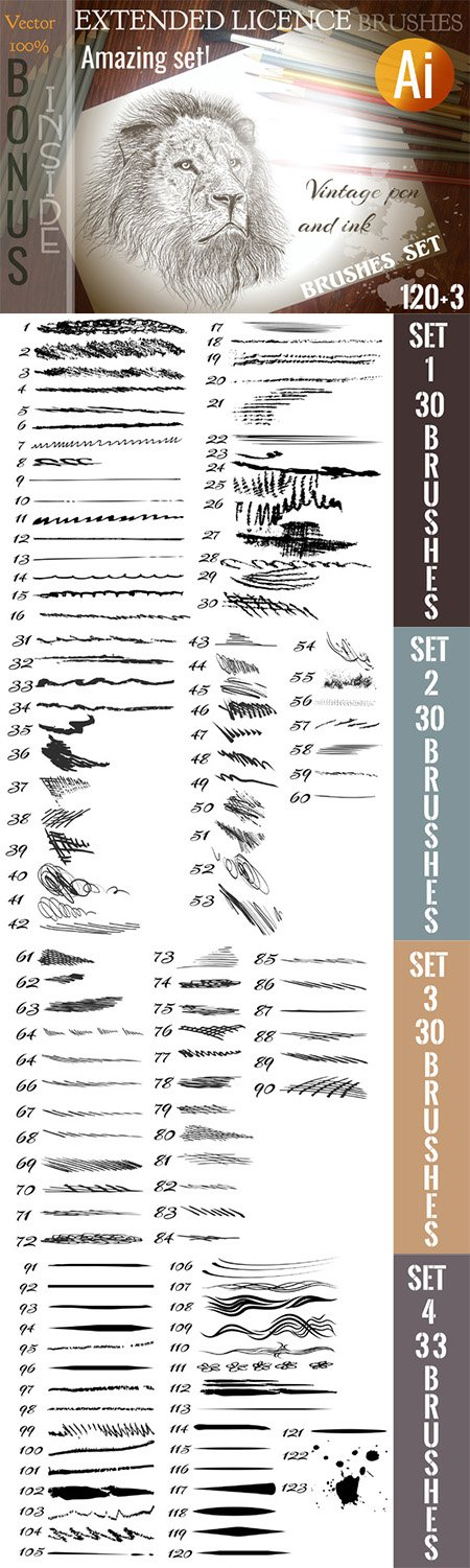 CM - Bundle of brushes for illustrator 323524