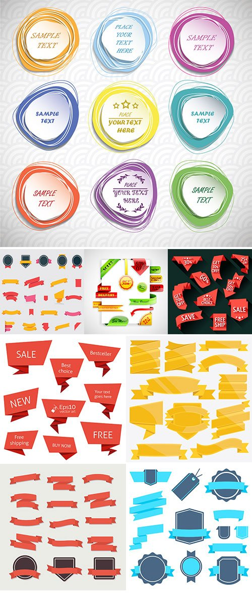 Flat badges, labels and banners vectors