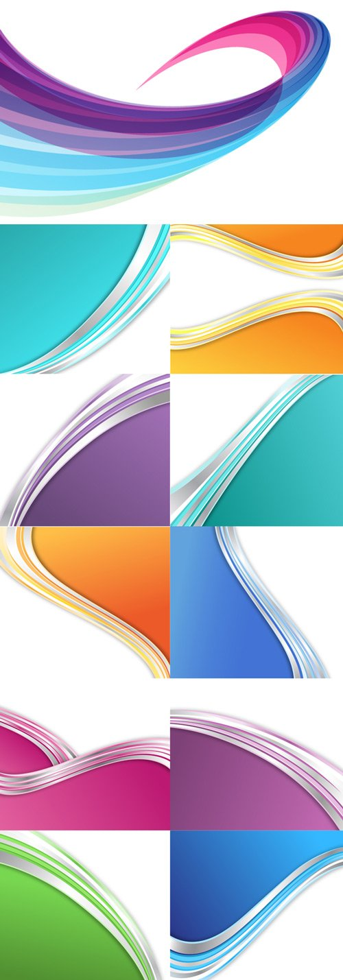 Abstract multicolored vector backgrounds with waves