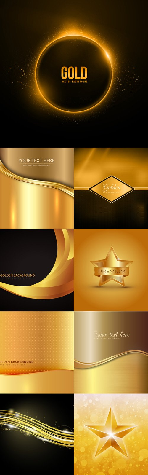 Gold stylish backgrounds vector graphics