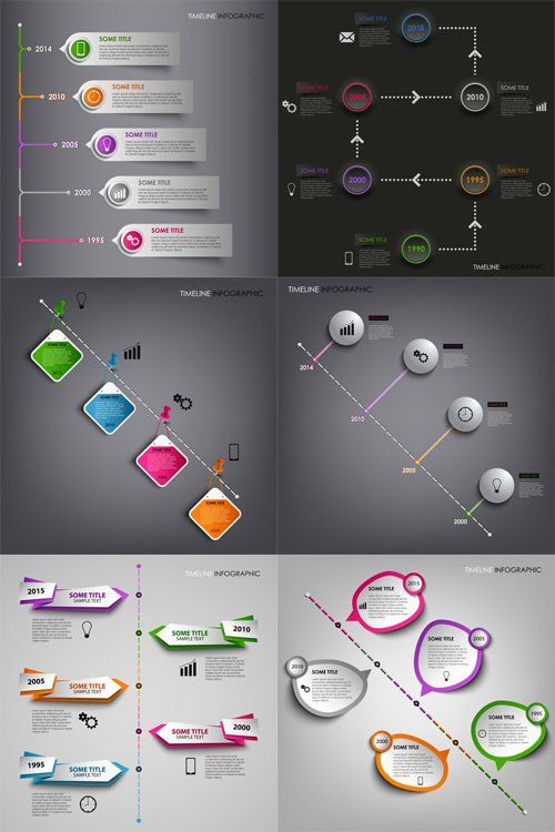 Vector Set - 6 Colorful Infographic Design Templates 3