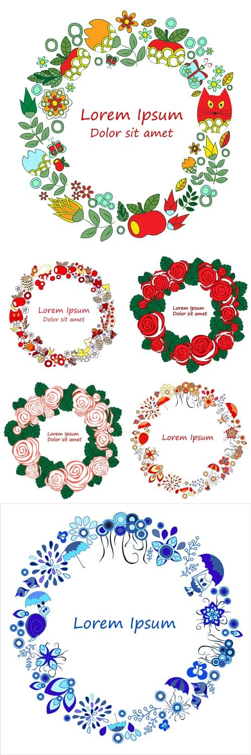 Vector Set - 6 Frame of Roses