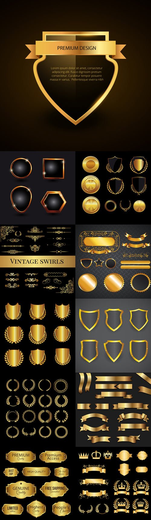 Golden graphic elements vector
