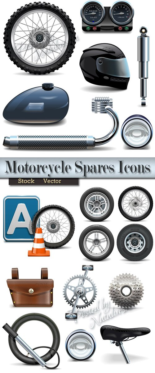 Icons in Vector - Spare parts on motorcycle
