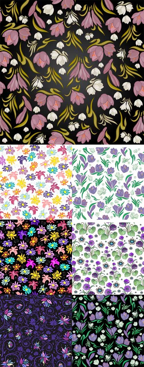 Vector Set - 7 Floral Patterns