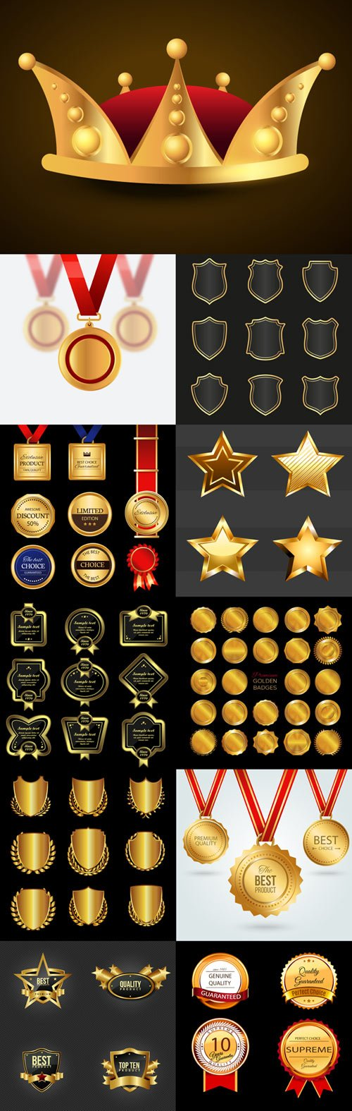 Vector gold medals and labels