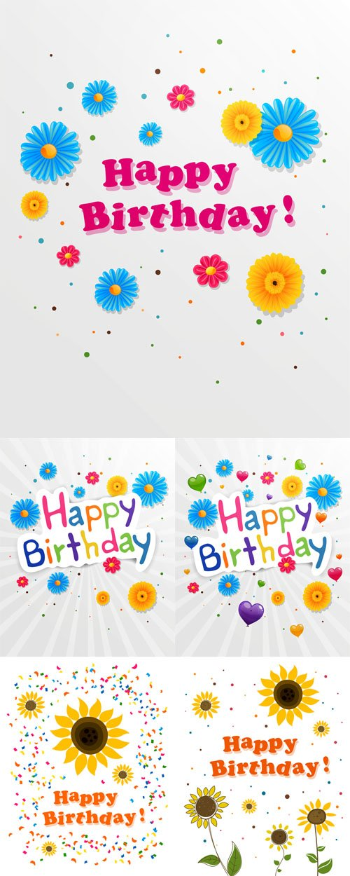 Vector Set - Illustrations of a Happy Birthday Greeting Cards