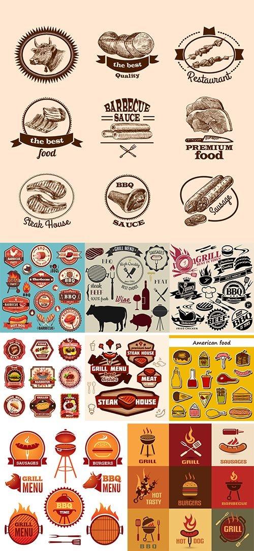 Stock sausages stickers set vectors