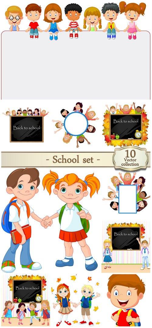 School vector set, schoolchildren, books