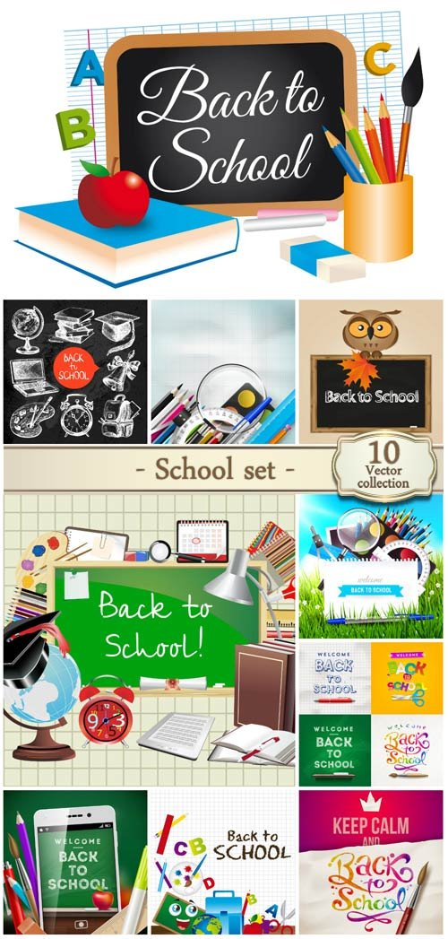 Vector set school, school board, books