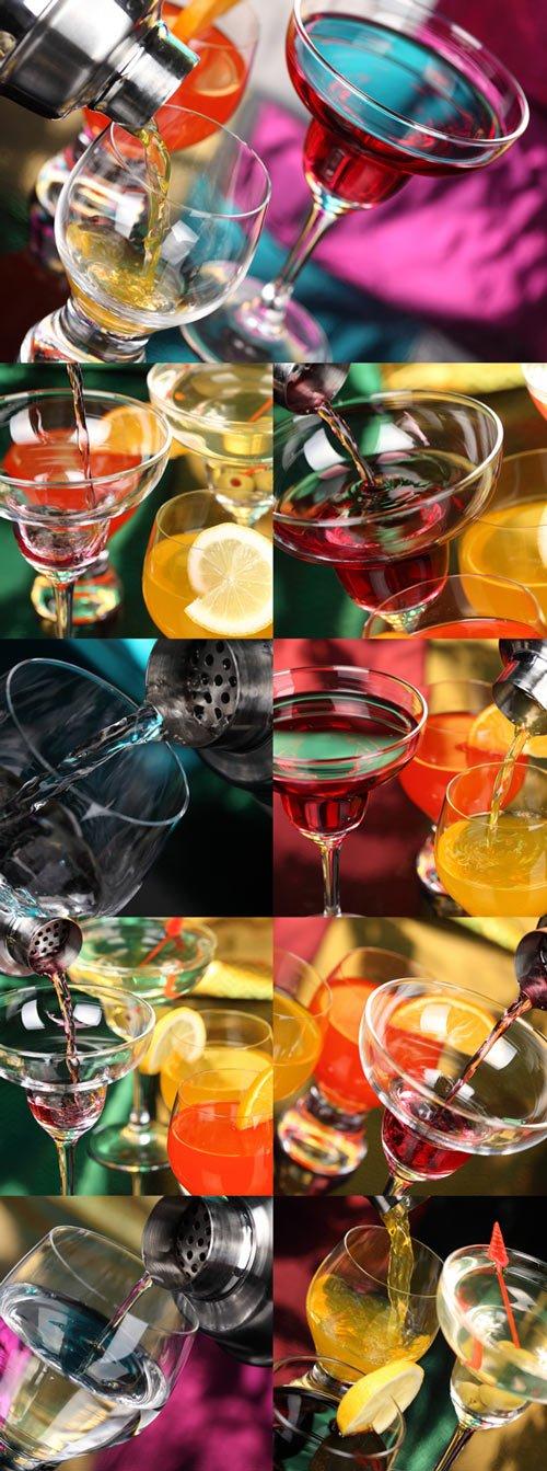 Refreshing tropical cocktail Raster Graphics set 2