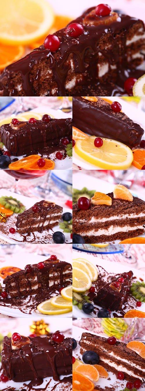 Chocolate creamy cake with fruits bitmap