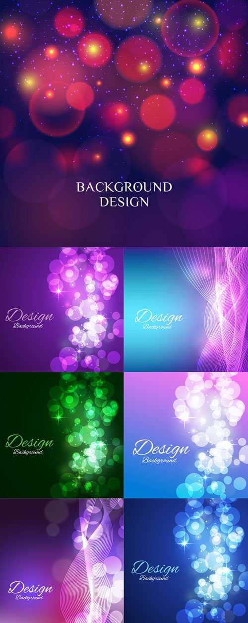 Wavy and bokeh backgrounds vector