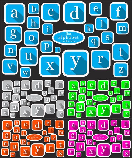 Vector Set - Colored Flat Alphabet Icon