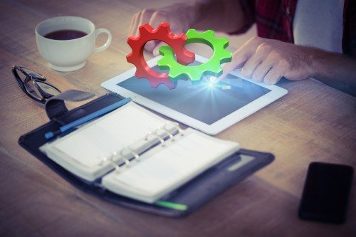 People and modern technology, smartphone, laptop - Stock photo
