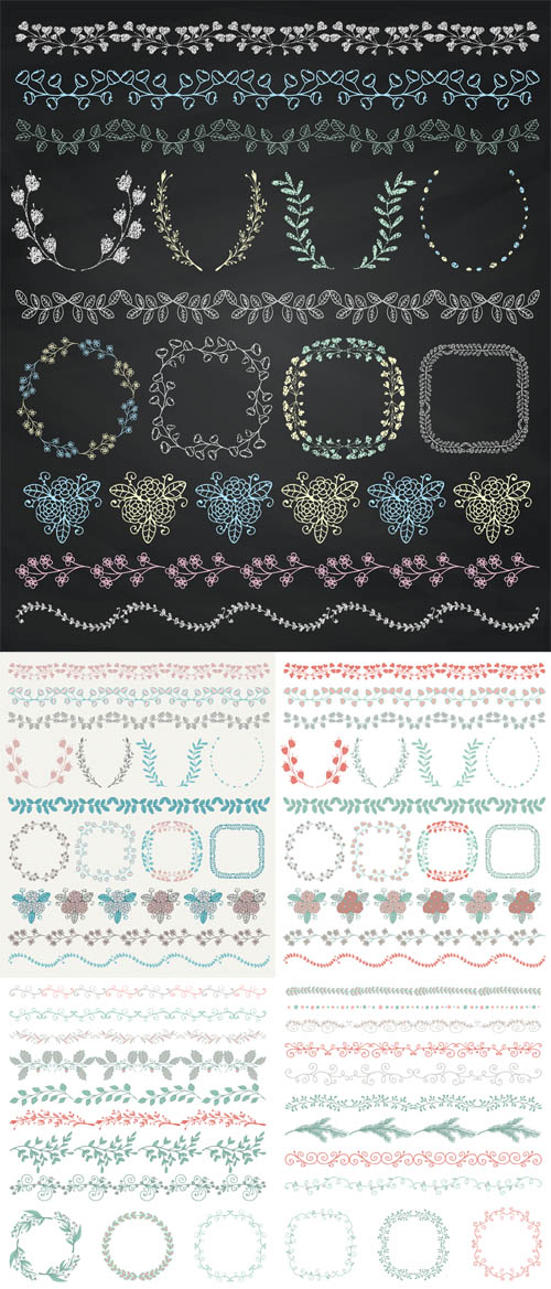 Vector Hand Sketched Seamless Borders and Frames Set 2