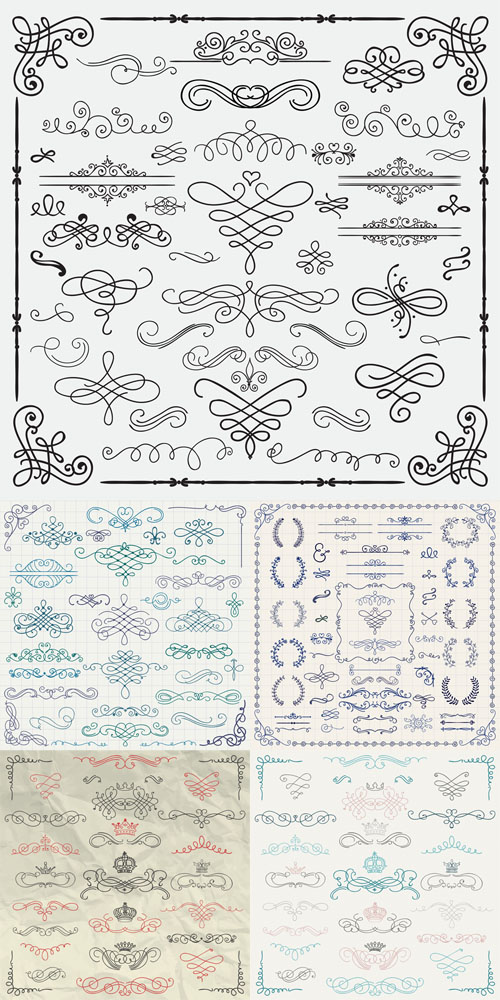 Vector Set Colorful Vintage Hand Drawn Swirls and Crowns