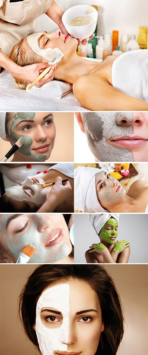 Stock Photos Spa Outdoor, Beautiful young woman lying with natural dead sea facial mask on her face