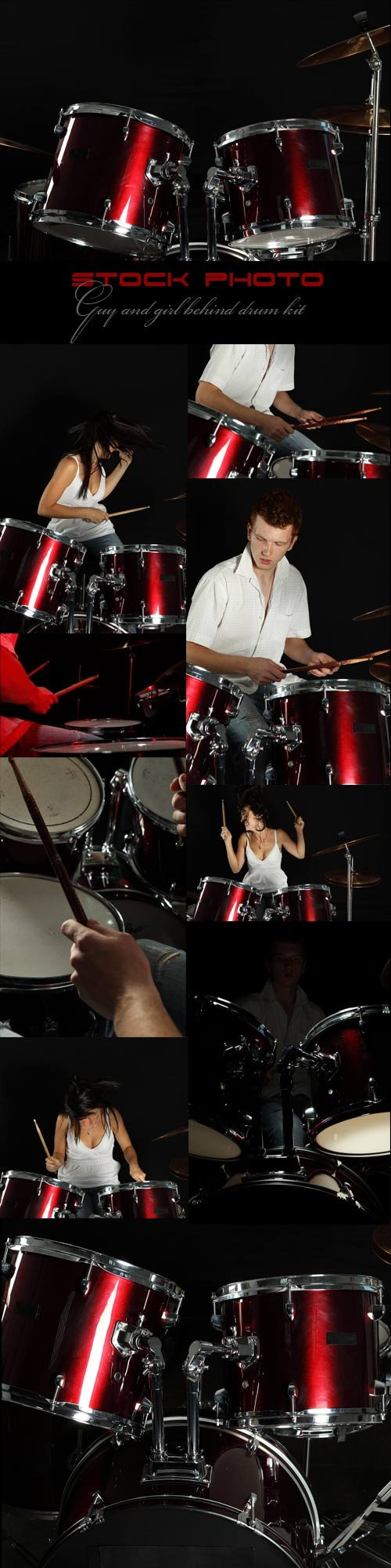Guy and girl behind drum kit