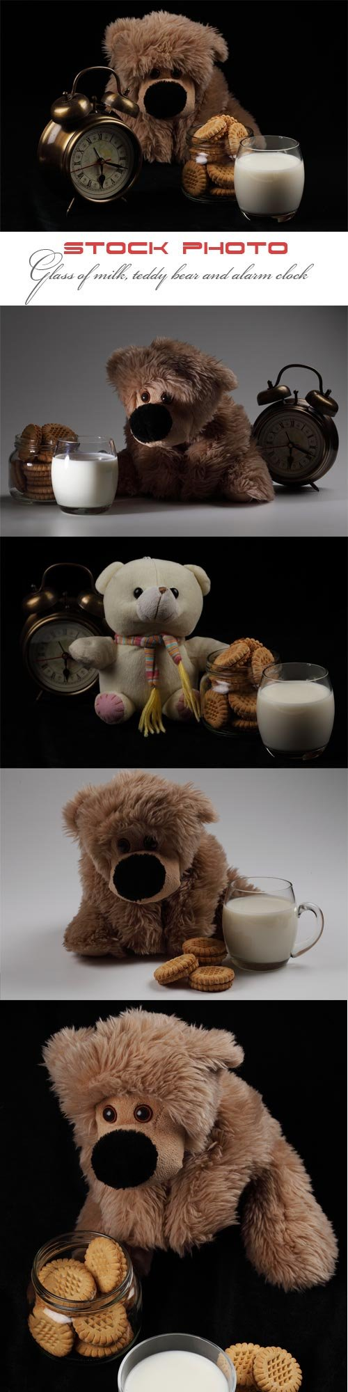 Glass of milk, teddy bear and alarm clock
