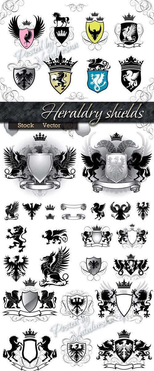 Heraldry in Vector - Shchits an engraving of lion, dragon