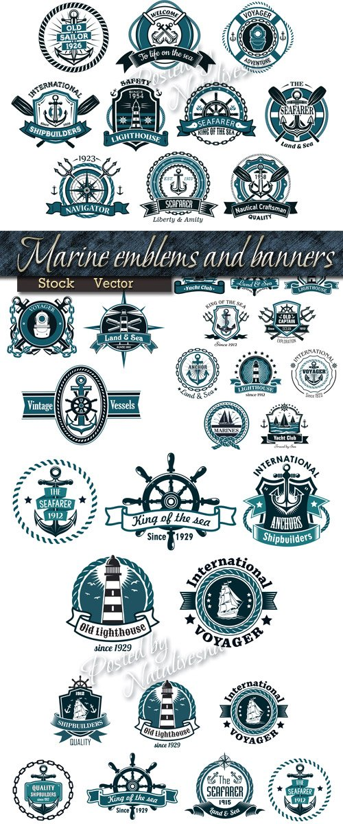Sea navigation emblems and banners in Vector