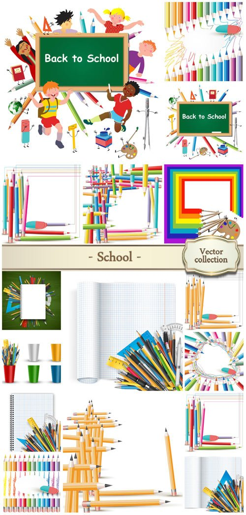 School vector, colored pencils and notebooks
