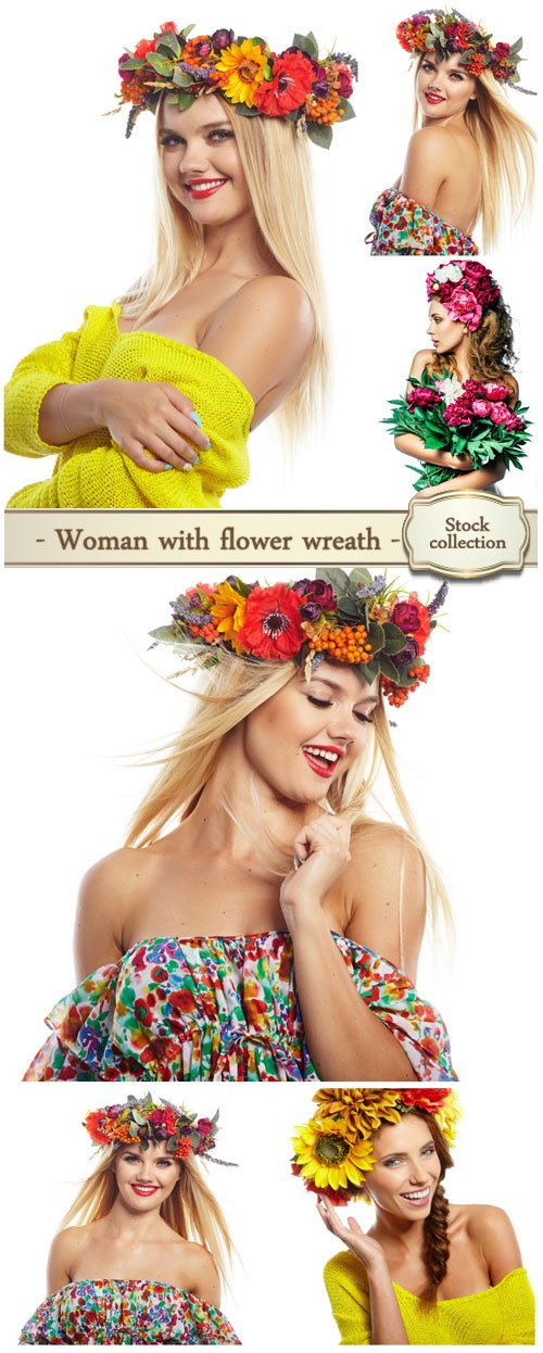 Woman with flower wreath - Stock photo
