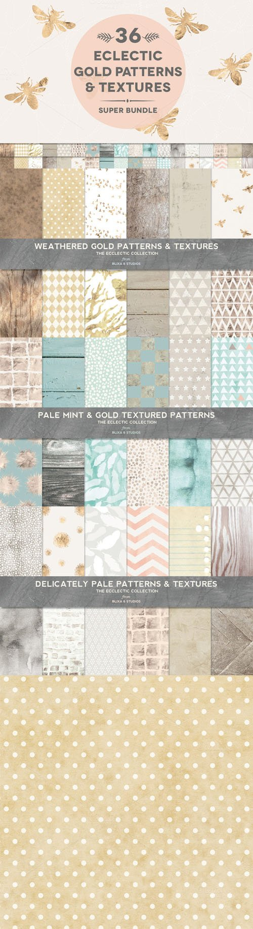 36 Gold & Weathered Texture Bundle - Creativemarket 305168