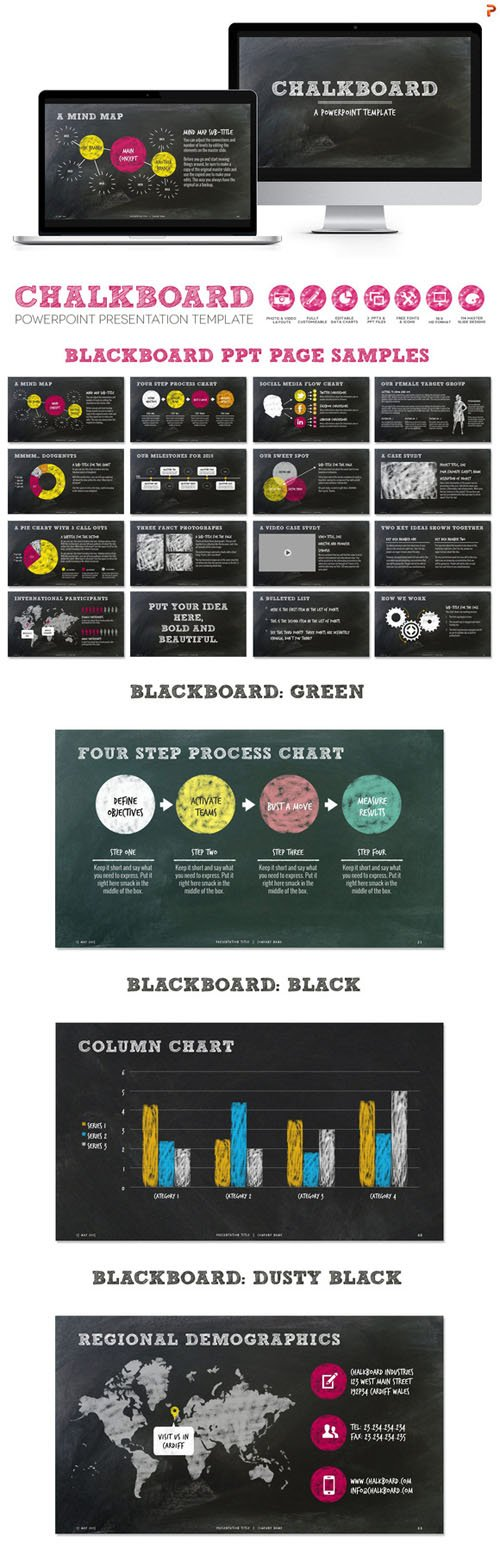 Creativemarket - Chalkboard PPT Presentation Template 274012