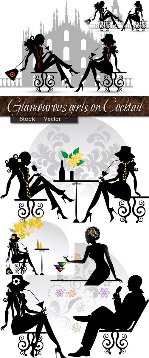 Glamourous girls on Cocktail in Vector