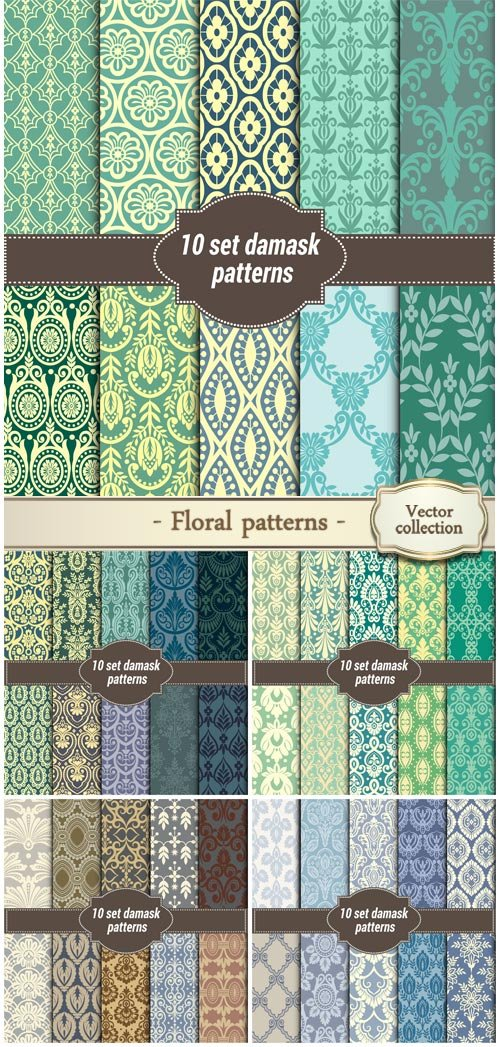 Collection of floral patterns for making damask wallpapers
