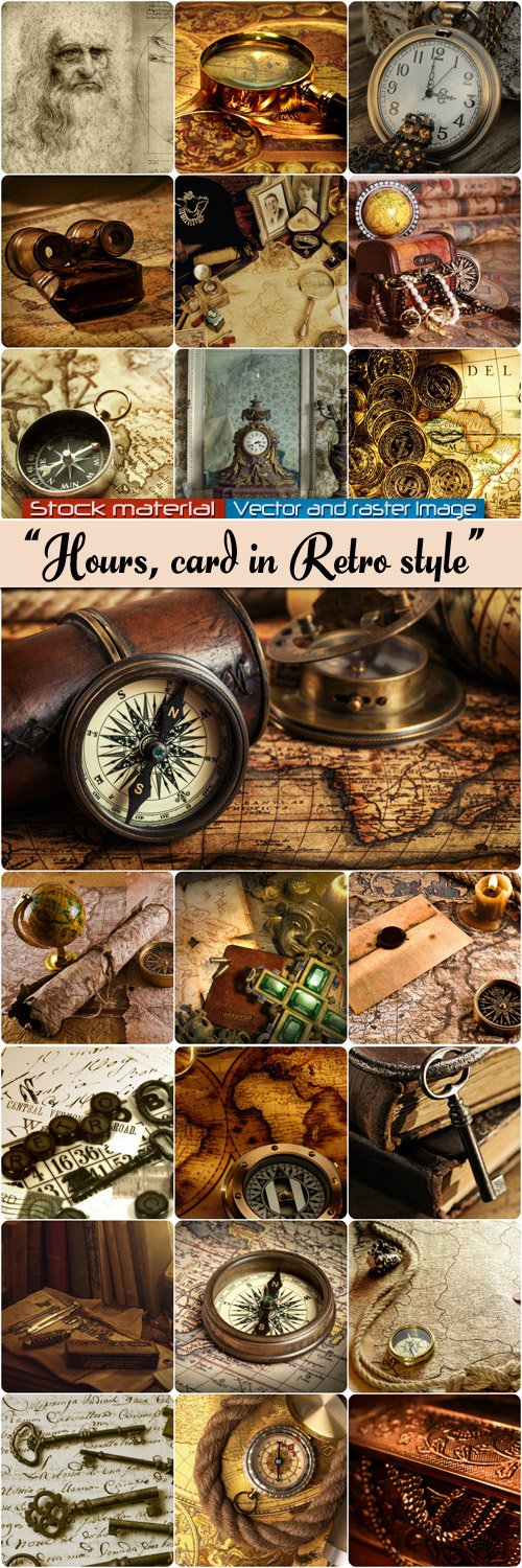 Card, rolls, hours in retro style