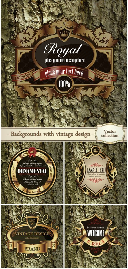 Vector backgrounds with vintage design
