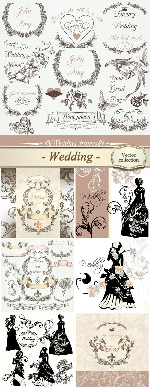 Collection of bridal silhouettes for design, vector design