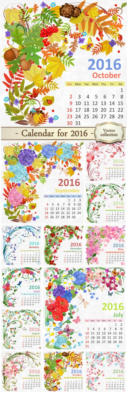 Calendar for 2016 with flower design