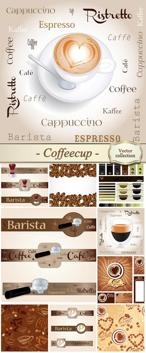 Coffeecup, backgrounds and labels vector