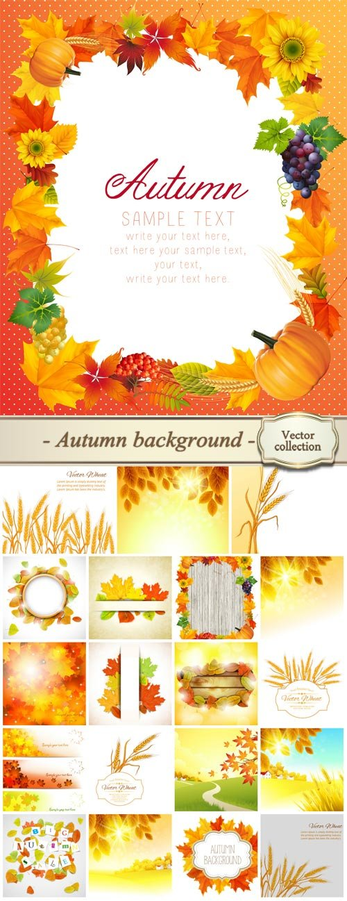 Autumn vector background, trees, yellow leaves