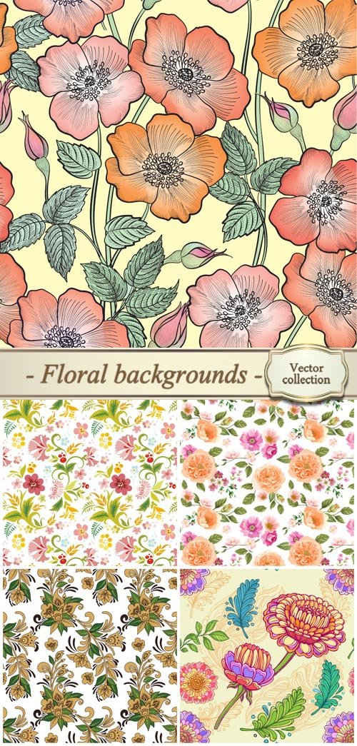 Floral backgrounds, vector seamless texture