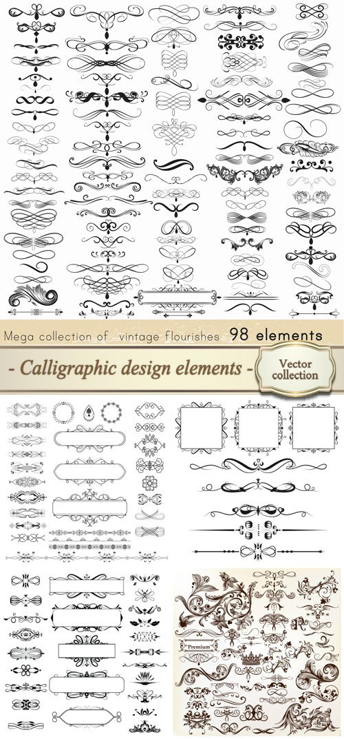 Calligraphic vector vintage design elements and page decorations