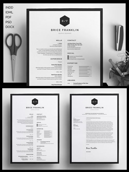 Resume/CV - Brice - Creativemarket 198025