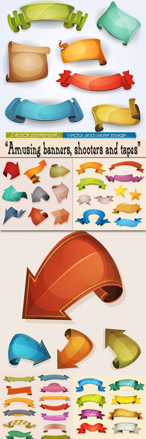 Comic banners, shooters and tapes in Vector
