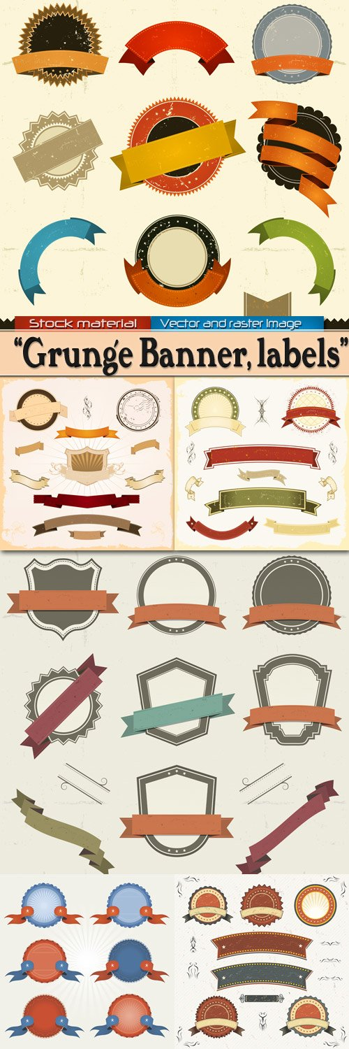 Grunge banner and labels in Vector