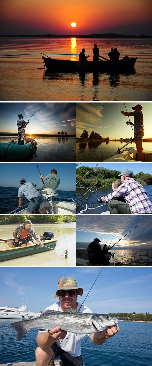 Stock Photos man Fishing on boat
