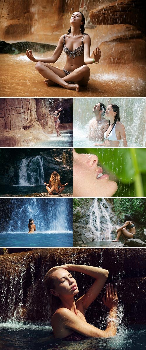 Stock Image Woman tropical waterfall