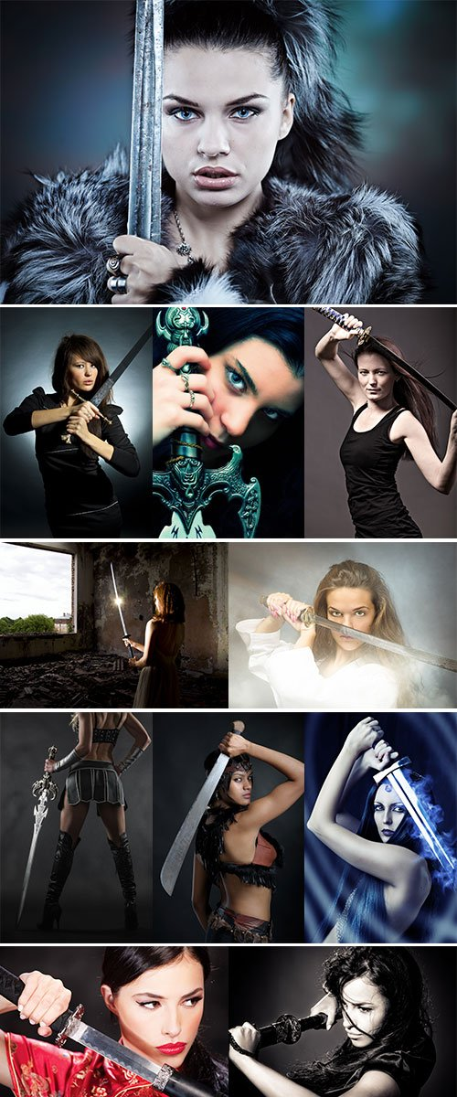 Stock Image Woman with a sword