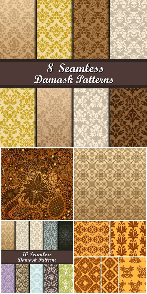 Seamless vector textures, backgrounds with patterns