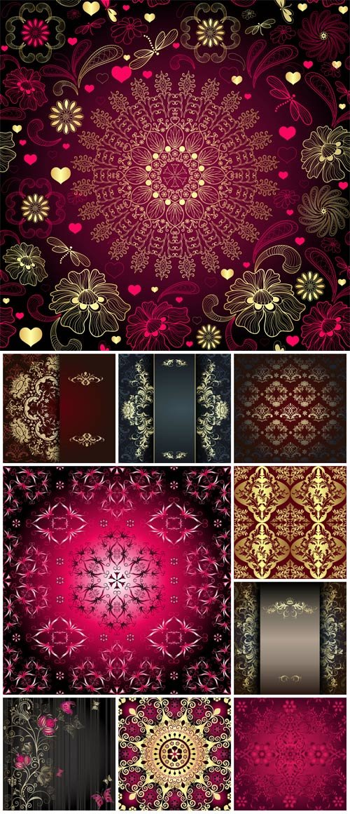 Beautiful vector background with golden patterns#2