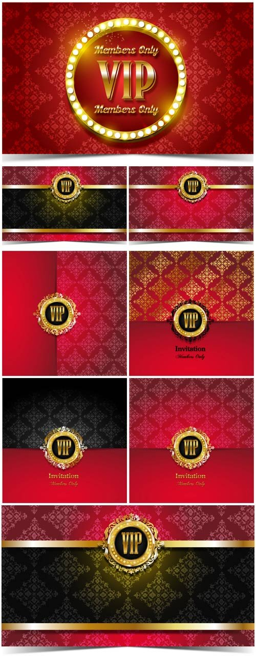 VIP cards and backgrounds vector, invitation