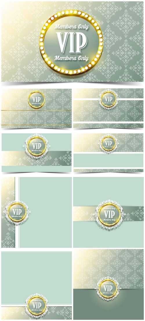VIP cards and backgrounds vector, gold decor